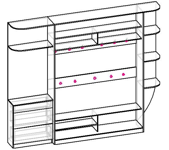наполнение шкафа купе в прихожую, чертеж 2