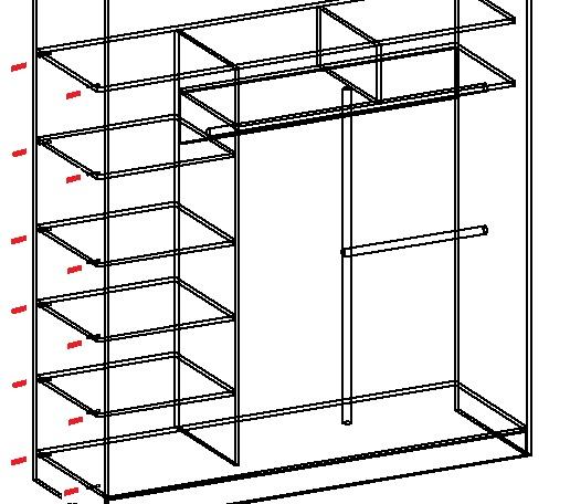 планирование крепления полок в шкафу-купе