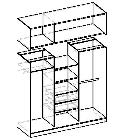 чертеж шкафа-купе под потолок без антресоли
