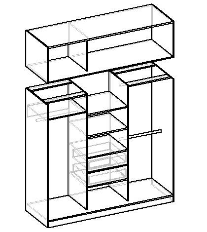 чертеж шкафа-купе с антресолью