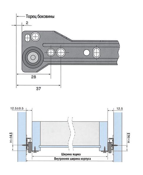 размеры для установки роликовых направляющих на выдвижной ящик