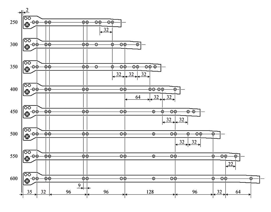 размеры для установки роликовых направляющих по системе 32