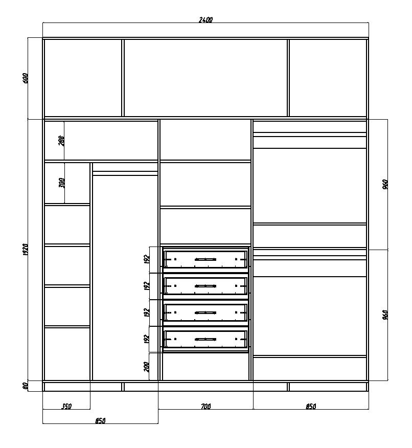 чертеж с размерами внутреннего наполнения шкафа-купе в спальню