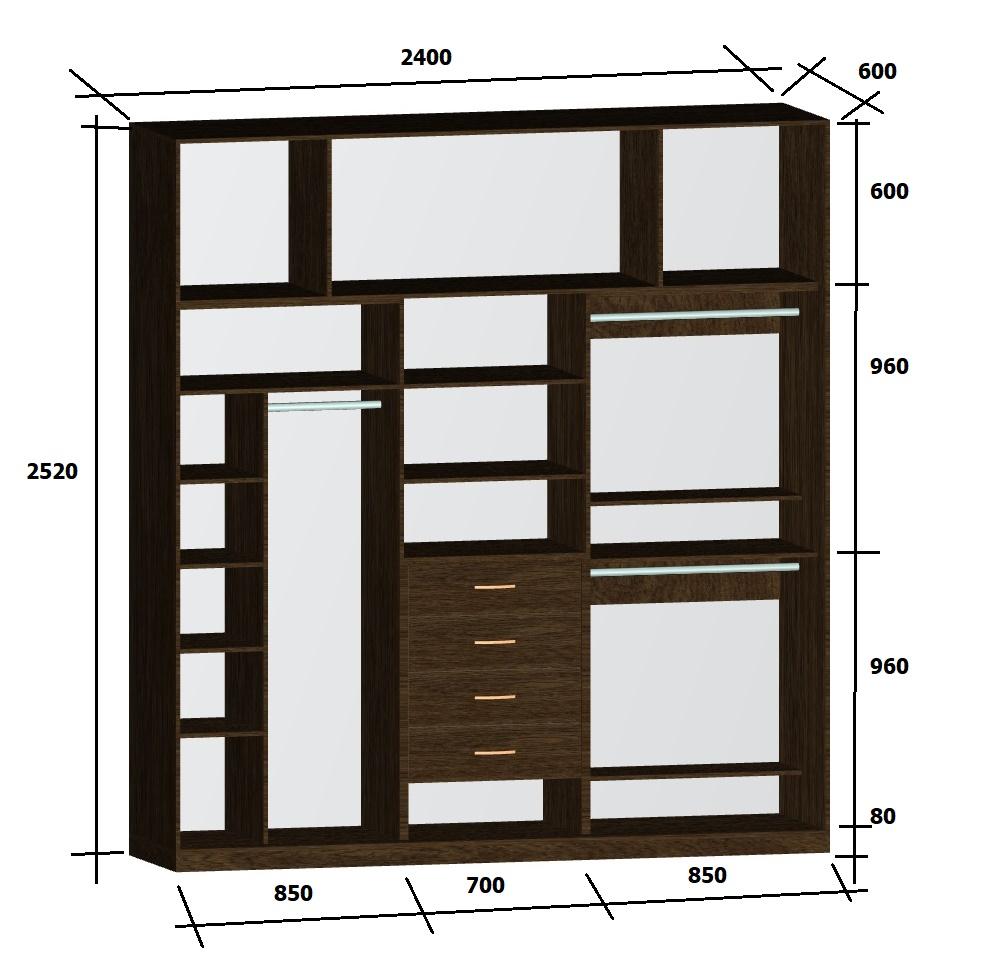 чертеж с размерами трехдверного шкафа-купе в спальню