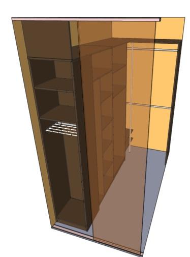 чертеж как обустроить узкую кладовку гардеробную