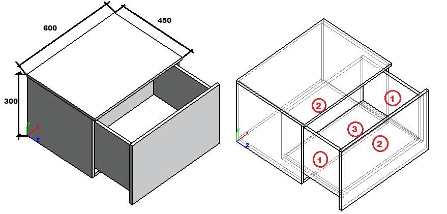 пример расчета деталей выдвижного ящика